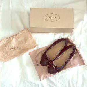 Prada Leather Ballerina Flats